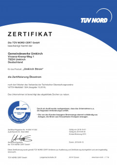 TÜV Zertifikat 2018